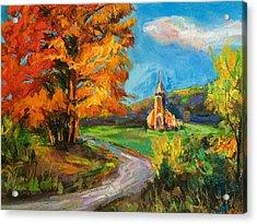 Fall Church Acrylic Print by Jieming Wang