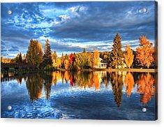 Fall Colors On Mirror Pond - Bend, Oregon Acrylic Print by John Melton