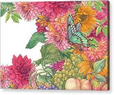 Fall Florals With Illustrated Butterfly Acrylic Print