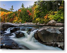 Fall Foliage Along Swift River In White Mountains New Hampshire  Acrylic Print