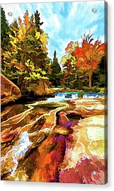 Fall Foliage At Ledge Falls 1 Acrylic Print by ABeautifulSky Photography