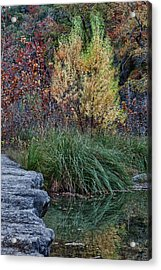 Fall Foliage Reflections At Lost Maples Acrylic Print