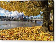 Fall Foliage With Portland Oregon City Acrylic Print