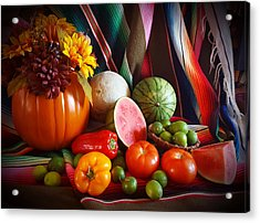 Acrylic Print featuring the painting Fall Harvest Still Life by Marilyn Smith