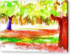 Fall Leaves Trees 2 Acrylic Print by Lanjee Chee