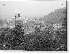 Fall Mist Surrounds St. Nicholas Church In Prague Acrylic Print by John Julio
