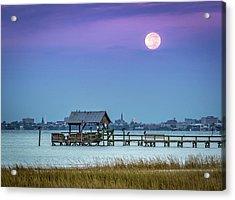 Fall Moon And King Tide - Charleston Sc Acrylic Print