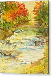 Fall On East Fork River Acrylic Print by Kris Dixon