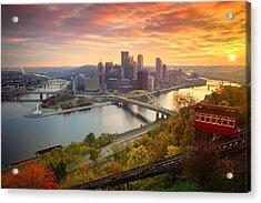 Fall Pittsburgh Skyline  Acrylic Print by Emmanuel Panagiotakis