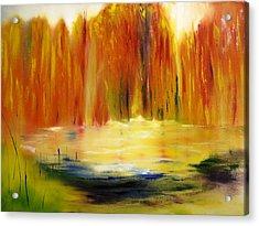 Fall Pond Acrylic Print by Larry Ney  II