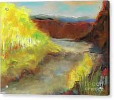 Acrylic Print featuring the painting Fall Ponds by Frances Marino