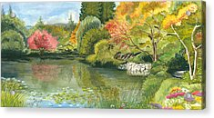 Fall Reflections Butchart Gardens Acrylic Print