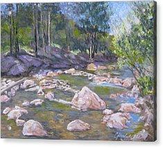 Fall River Trilogy 2 Acrylic Print by Carole Haslock