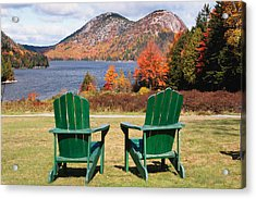 Fall Scenic With  Adirondack Chairs At Jordan Pond Acrylic Print by George Oze