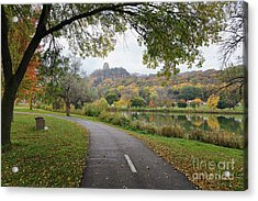Acrylic Print featuring the photograph Fall Sugarloaf With Path And Bench by Kari Yearous