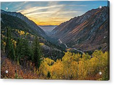 Fall Sunset In Little Cottonwood Canyon Acrylic Print