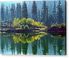 Fall Trees Reflected In Fish Lake Acrylic Print by Jim Nelson