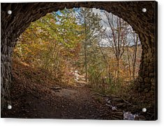 Acrylic Print featuring the photograph Fall Under The Cobblestone Bridge by Kirkodd Photography Of New England