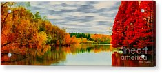 Fall Water Painterly Rendering Acrylic Print