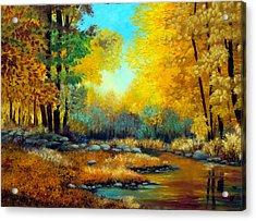 Fall Woods Stream  Acrylic Print by Laura Tasheiko
