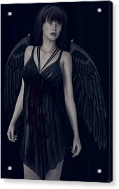Acrylic Print featuring the painting Fallen Angel - Dark And Gothic by Maynard Ellis