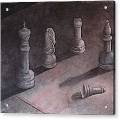 Fallen Chessman Acrylic Print by Sandy Clift