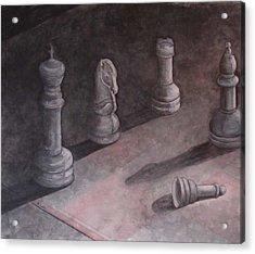 Fallen Chessman Acrylic Print by Sandy Clift