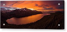 Fallen Leaf Lake Sunset Aerial By Brad Scott Acrylic Print