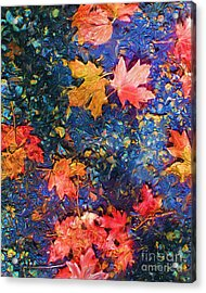 Falling Blue Leave Acrylic Print by Marilyn Sholin