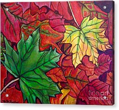 Falling Leaves I Painting Acrylic Print