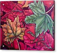 Falling Leaves Two Painting Acrylic Print by Kimberlee Baxter