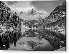 Falling Skies - Maroon Bells In Black And White - Aspen Colorado Acrylic Print