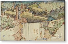 Fallingwater Pen And Ink Acrylic Print