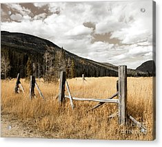 Acrylic Print featuring the photograph Fallowfield Weathered Fence Rocky Mountain National Park Dramatic Sky by John Stephens
