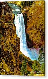 Falls Of The Yellowstone Acrylic Print by David Lee Thompson