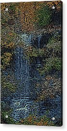 Falls Woodcut Acrylic Print by David Lane