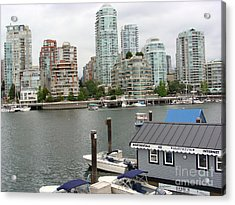 Acrylic Print featuring the painting False Creek Vancouver by Rod Jellison