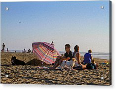 Family At Ocean Beach With Dogs Acrylic Print