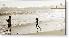 Family At Play On Beach Acrylic Print