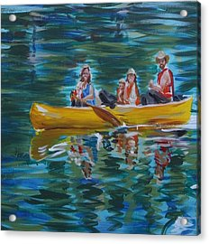 Family Canoe Trip From Spring 1 Acrylic Print by Jan Swaren