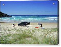 Family Day On Beach With 4wd Car  Acrylic Print