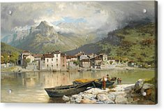 Family Fisherman In Lecco On Lake Como Acrylic Print by Ercole Calvi