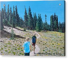 Acrylic Print featuring the painting Family Hike by Kevin Daly