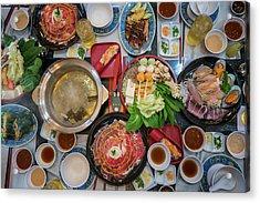 Family Marty With Sukiyaki Seafood And Beef Shabu Acrylic Print by Anek Suwannaphoom