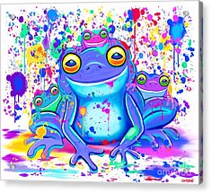 Family Of Painted Frogs Acrylic Print