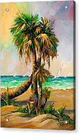 Family Of Palm Trees With Sail Boats Acrylic Print by Mary DuCharme