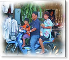 Family On Bike Acrylic Print