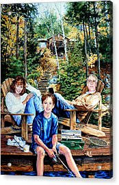 Family On The Dock Acrylic Print by Hanne Lore Koehler