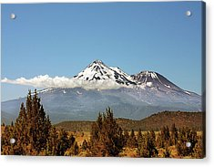 Family Portrait - Mount Shasta And Shastina Northern California Acrylic Print