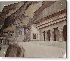 famous Ajantha Caves Acrylic Print by Bhalchandra Salunkhe